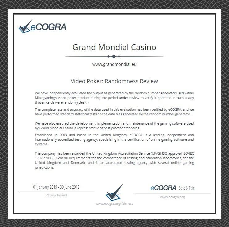 ecogra poker grand mondial