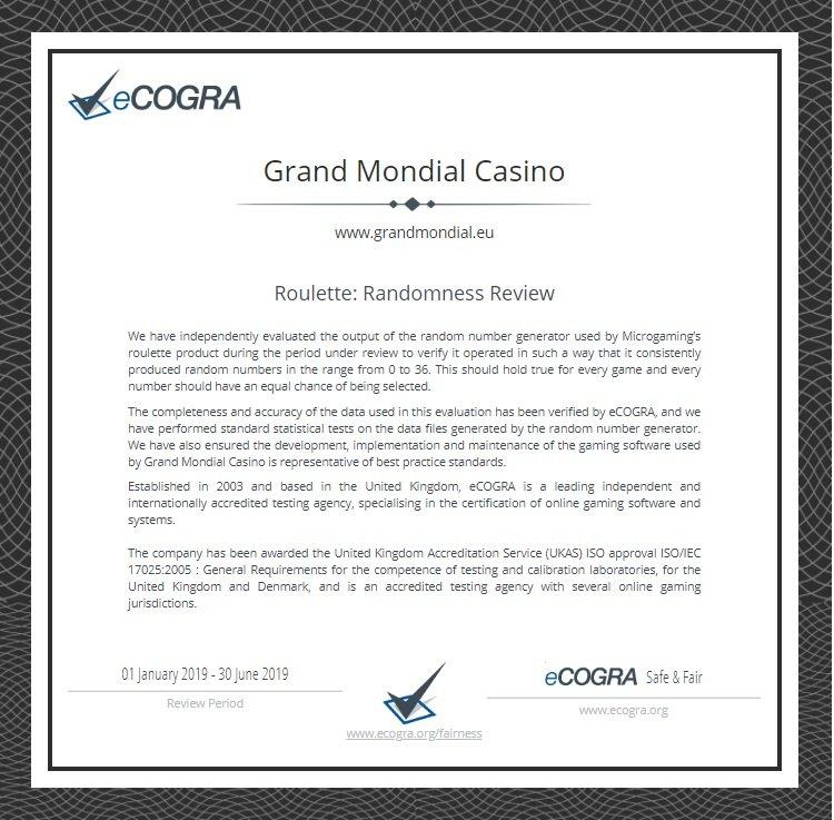 ecogra roulette grand mondial