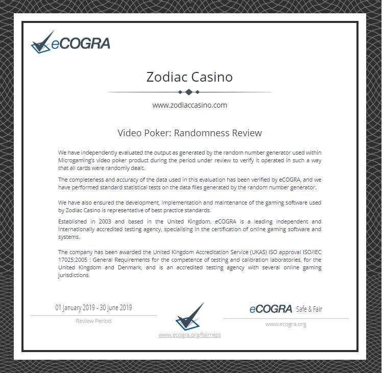 ecogra zodiac casino video poker