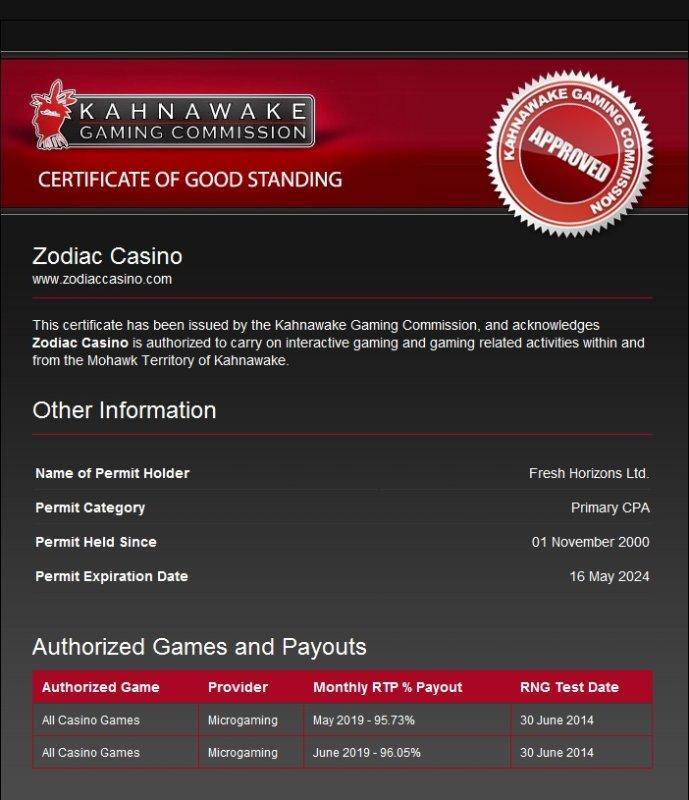 zodiac casino license