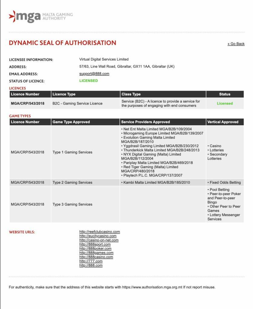 777 MGA License
