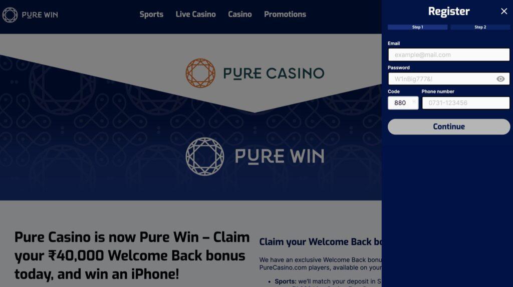 Pure Casino Login
